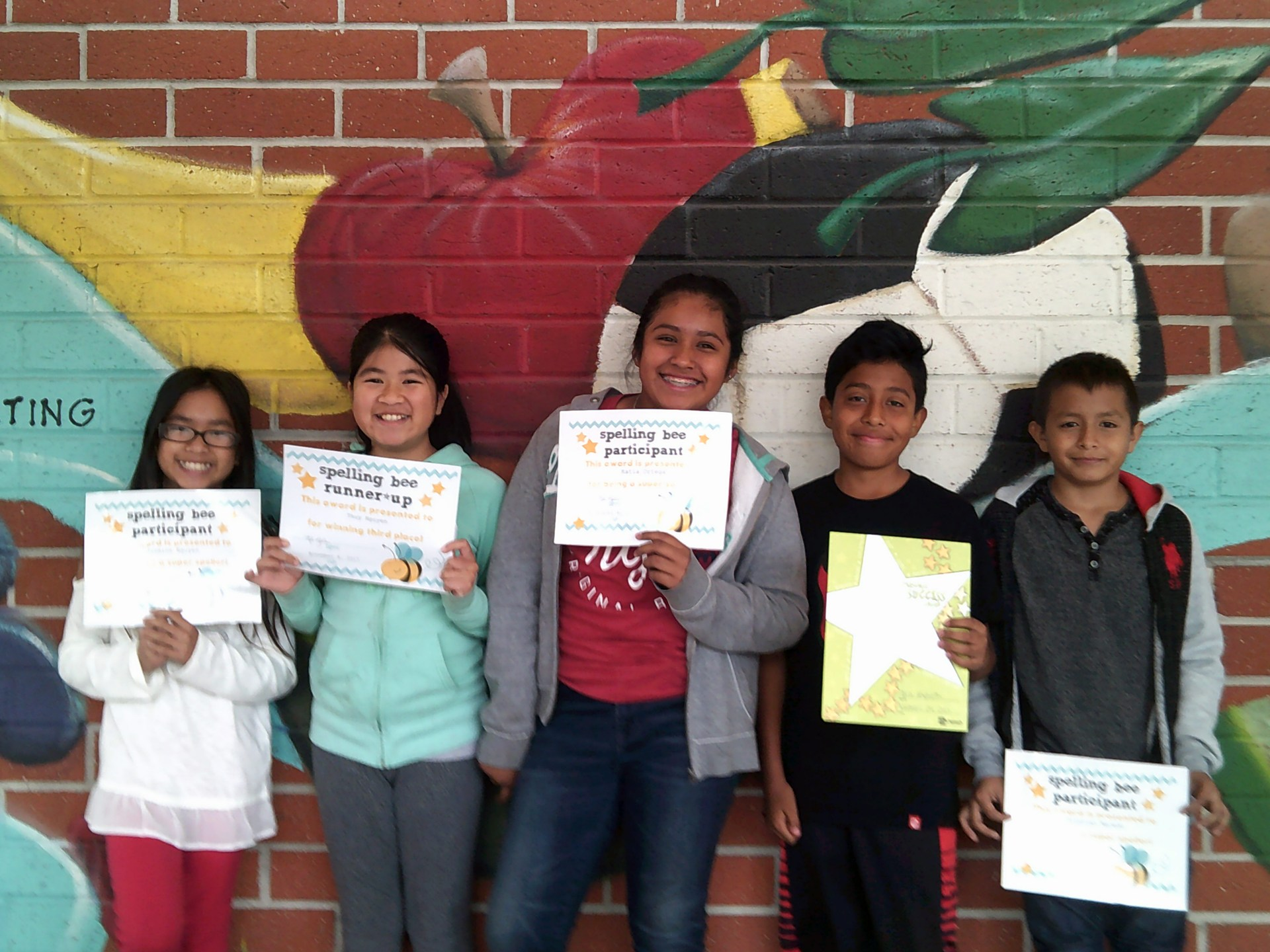 Spelling Bee Participants & Mrs. Kapustin's November Honorees