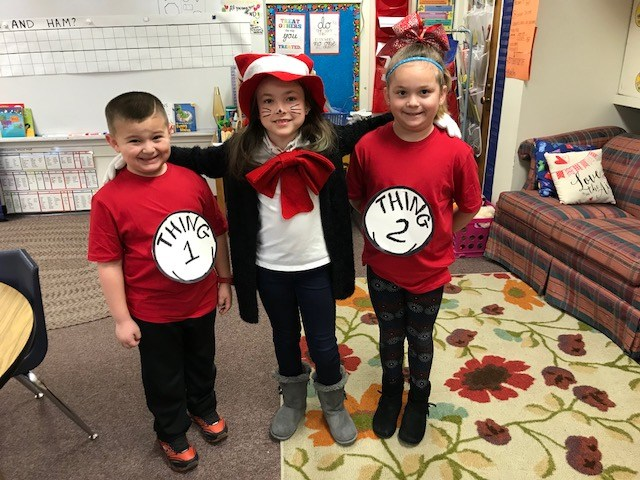 Students dressed up for Dr. Seuss Day! Thumbnail Image