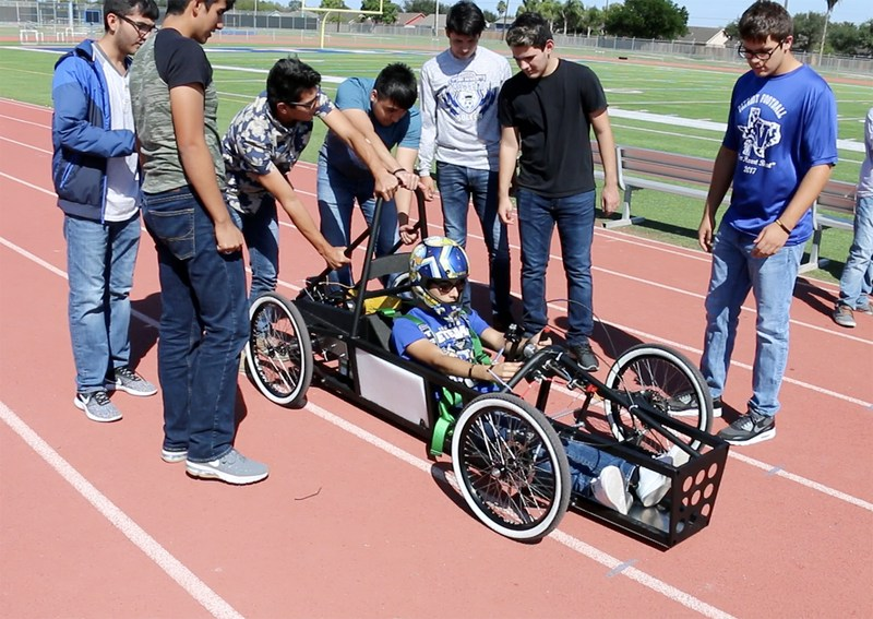 VMHS engineering students prepare their electric car for a test drive