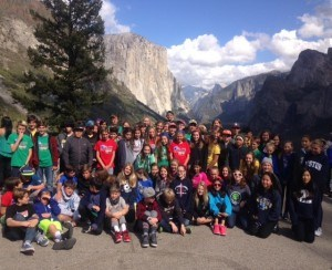 grade 7 group photo in Yosemite