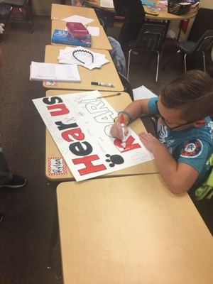 Charles Evans students making signs
