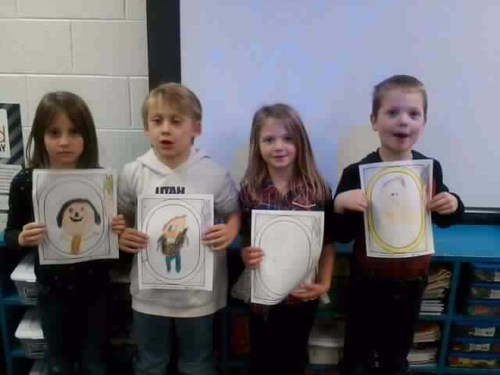 Students show what they will look like at 100 years of age!