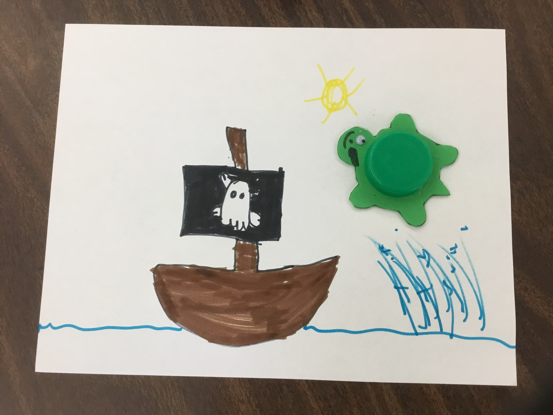 Pirate ship and turtle