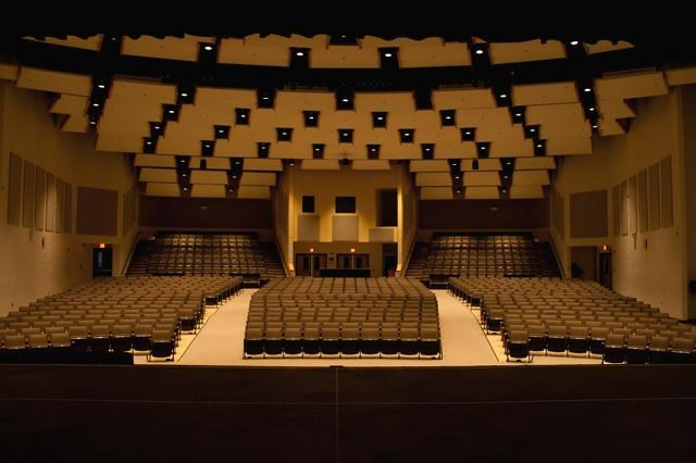 Interior of the Performing Arts Center as viewed from the front center of the stage