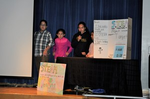 BPUSD_TALK_3: Members of Vanessa Carrillo's KIDS Talk team explain their research into STEAM toys sold by Target during presentations at Walnut Elementary School on Oct. 30.