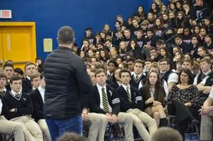 Chris Herren speaking to PJ students