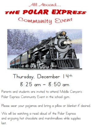 Flyer for the Polar Express Community Event