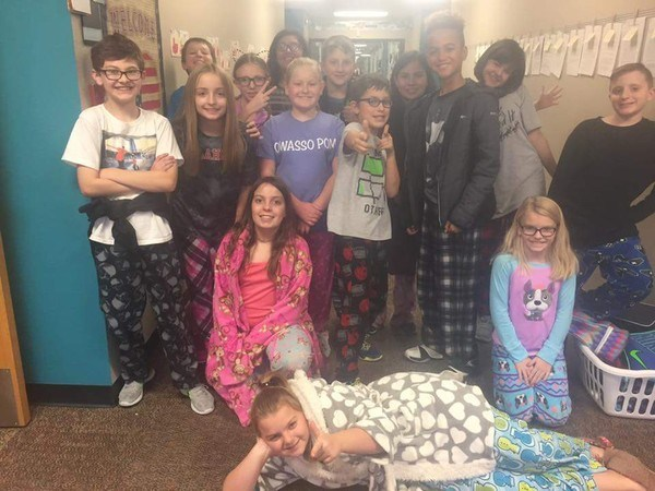 Students in pajamas
