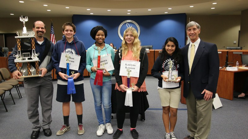 Western Center Academy's Assistant Principal Michael Horton, Ethan Corum, Damara Cormier, Katelynn Brennan, and Aileen Luke were named the final four for the district-wide Spelling Bee.