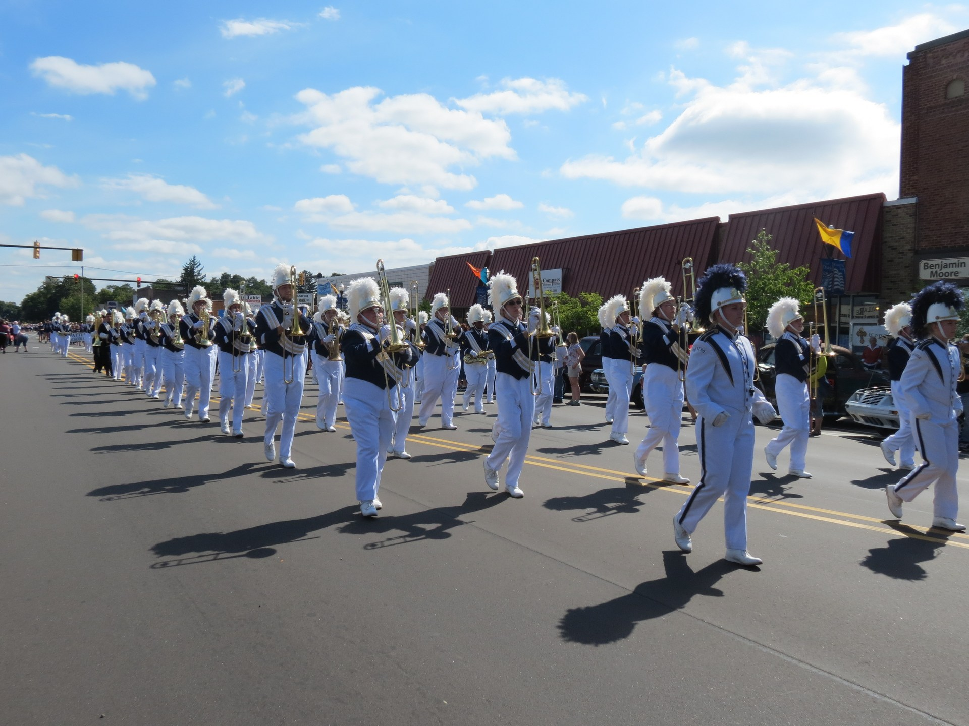 The OHS marching band performs in the Creative Arts Festival parade