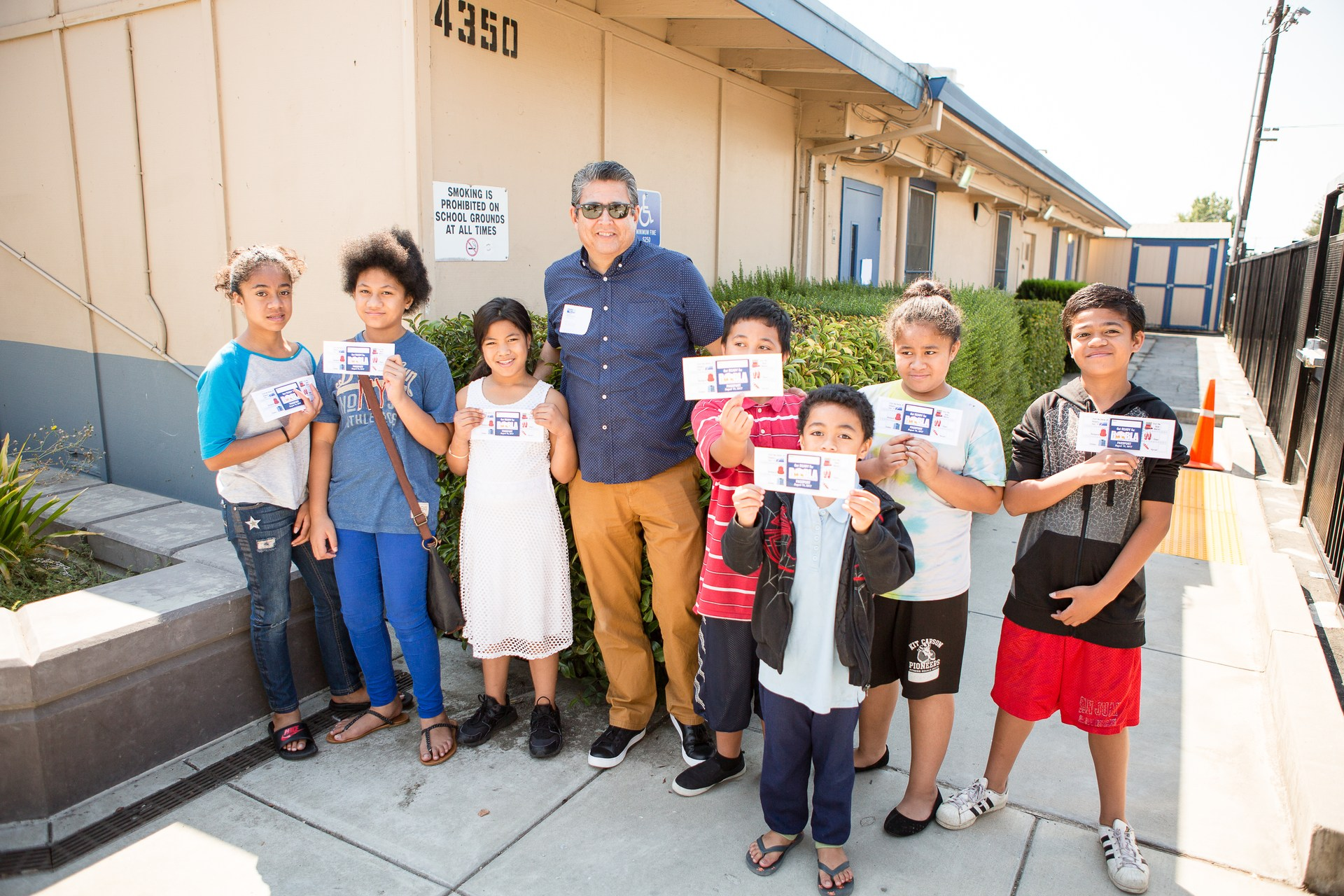 Superintendent Ruben Reyes and students