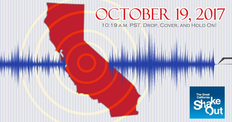 The Great California ShakeOut event banner for October 19, 2017