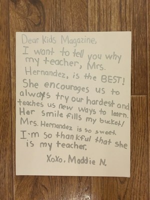 Maddie Letter to Kids Magazine.JPG