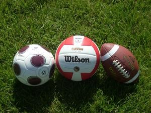 soccer ball, volleyball, football