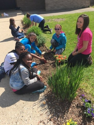 Girls on the Run has been such a wonderful program here at Southeast. It has been a big commitment for the fourteen 4th and 5th grade girls that have joined, as well as, the two full time coaches, (Mary Ormes and Brittany Lopez) the two part-time coaches, (Brittany Zender and Lindsey Lee,) and our school liaison, Sarah Dykla! One part of the Girls on the Run program is to plan a community service project. On Thursday, May 11th the girls worked very hard planting flowers and laying mulch along the entrance way at Southeast! Girls on the Run will be running their end of the season celebration 5K on Saturday, May 20th!