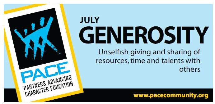 PACE Character Trait for July - Generosity Thumbnail Image