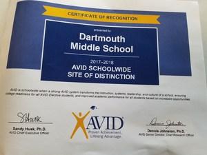 AVID Site of Distinction Award 2017-2018