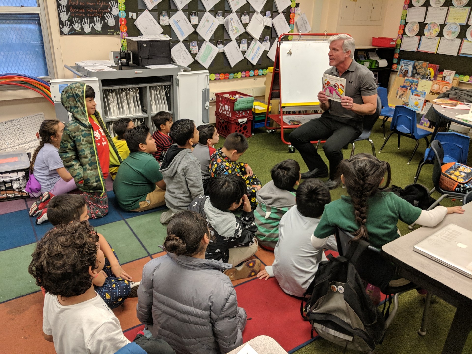 Dr. Kennedy reads to a class as part of Read Across America