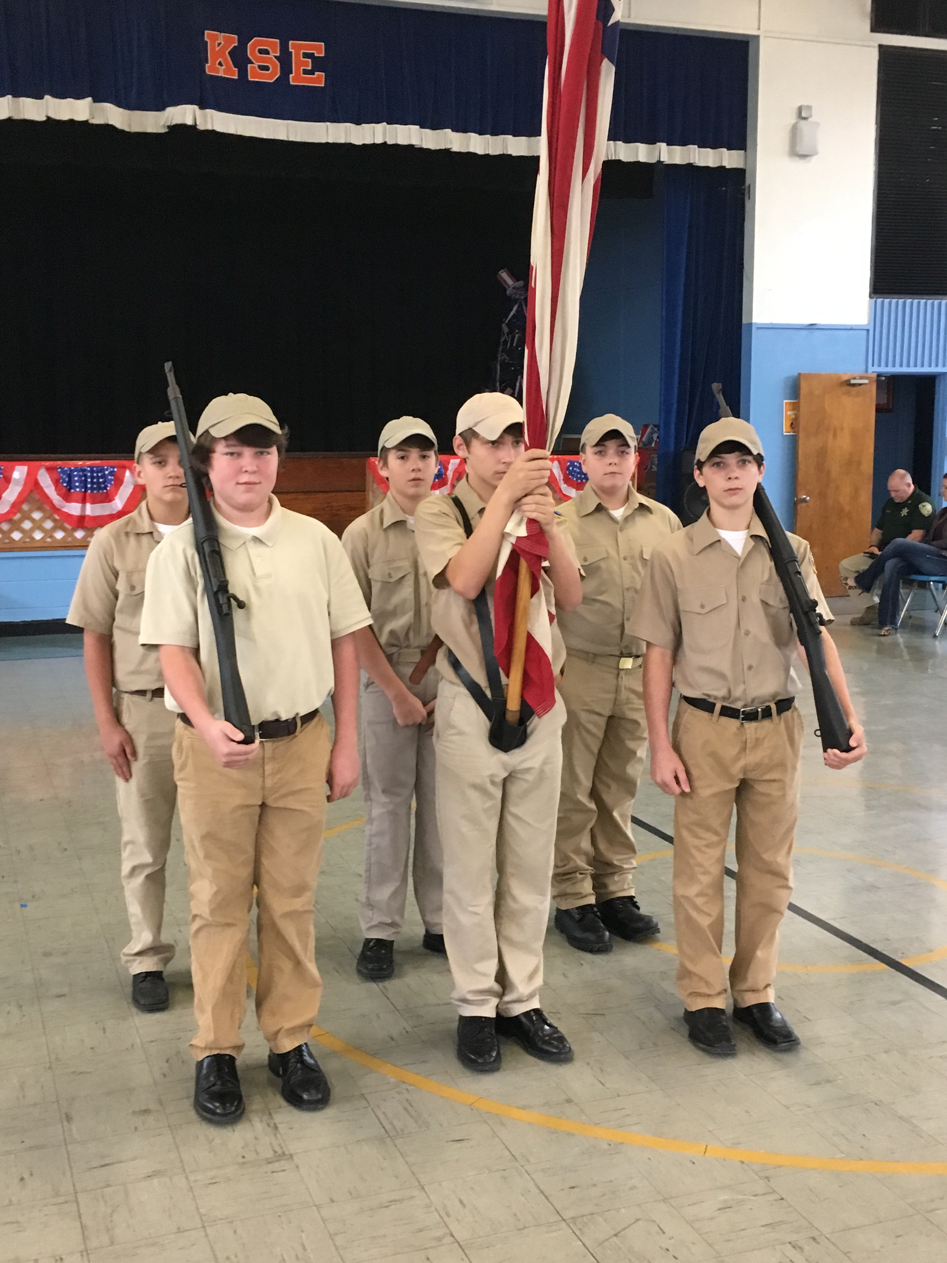 Jr. ROTC cadets practicing for Veteran's Day Program
