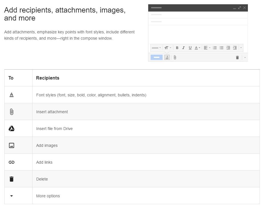 Email Formatting Options Screenshot