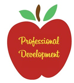 A red apple with the words professional development