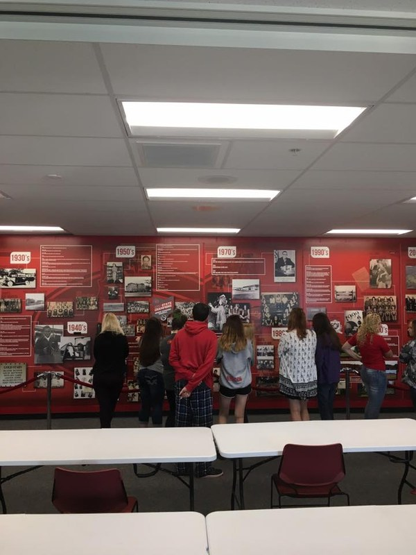 Goshen Students enjoying Goshen Schools Timeline Display