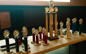 Table of trophies for winners of the 18 Hour Film Project