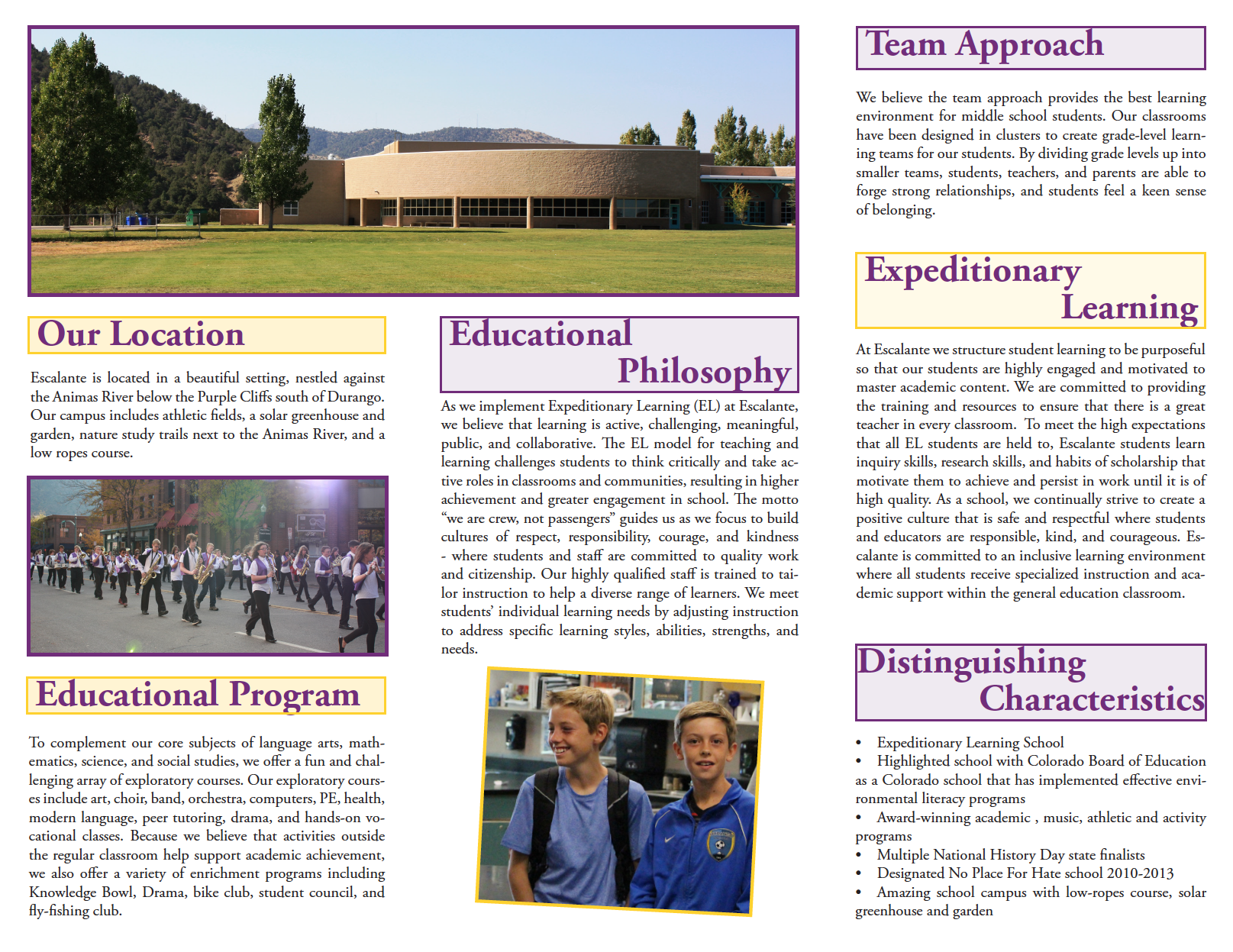 Inside of the Escalante brochure