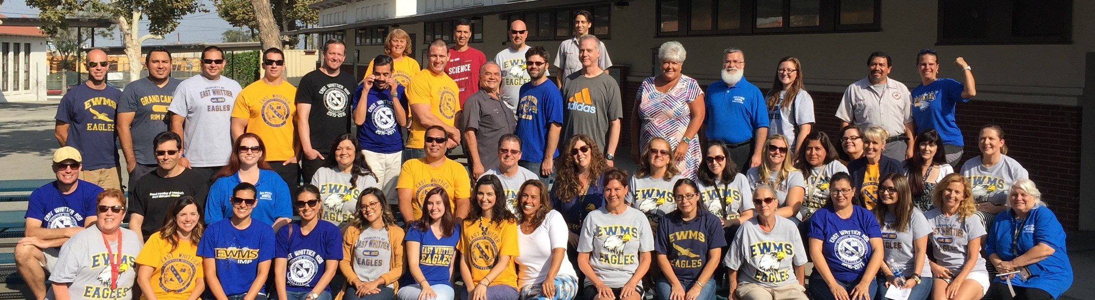 Group photo of staff wearing East Whittier Middle School tshirts