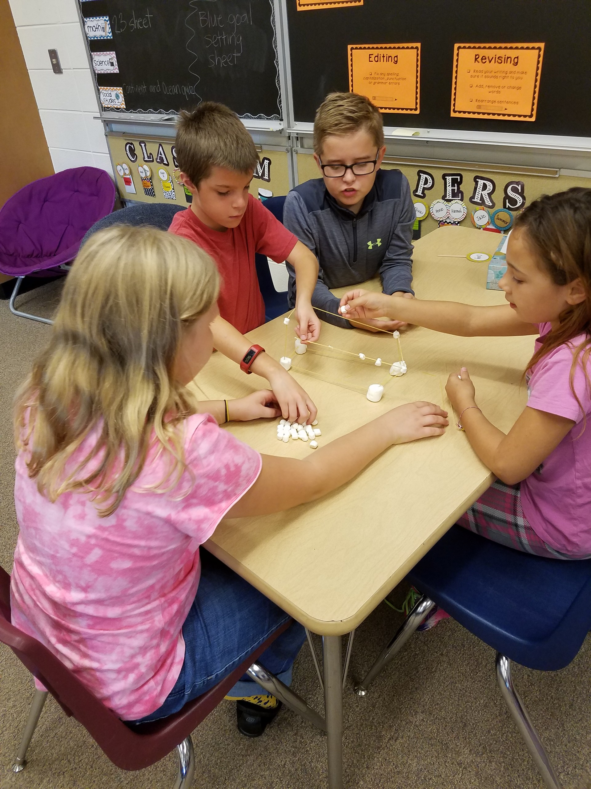 Students building tower with noodles and marshmallows.
