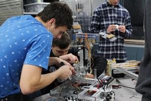 Robotics team working on robot