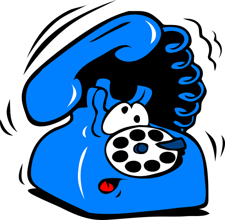 Blue ringing phone