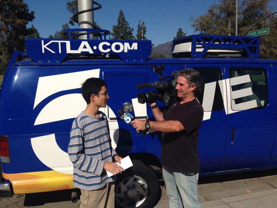 Arcadia High Student with KTLA news van