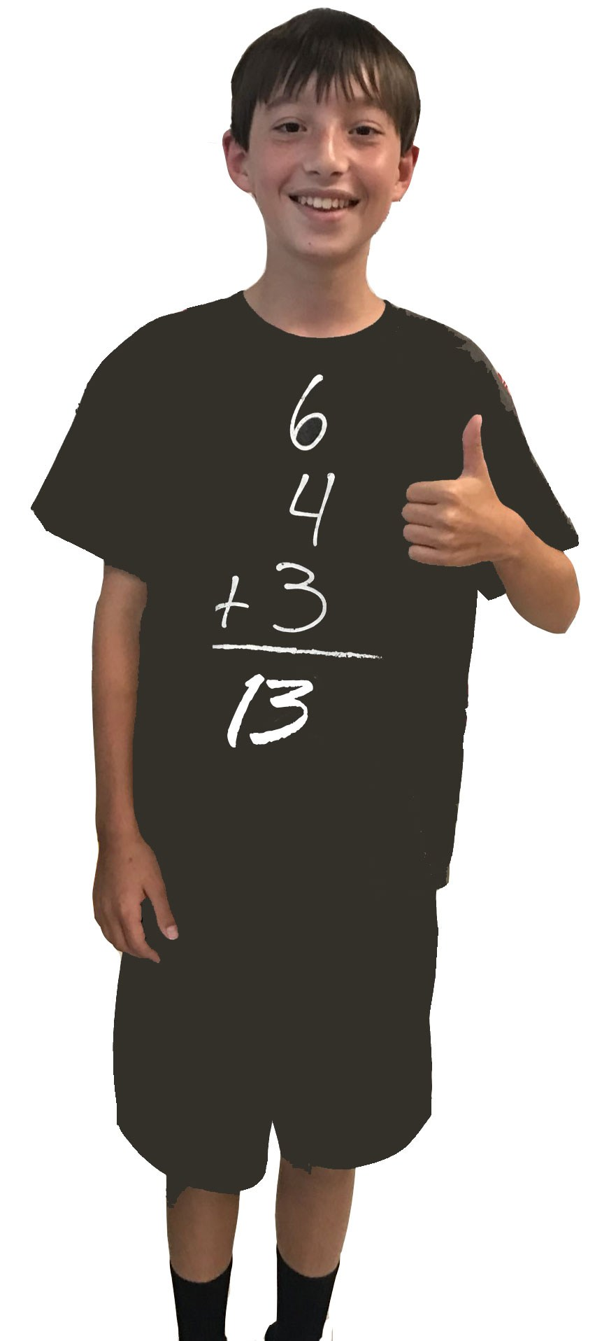 Mail junior high student wearing math t-shirt