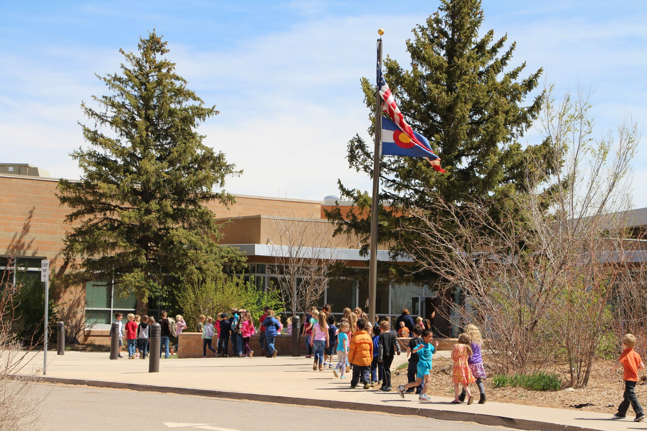 Students lined up to enter the school.