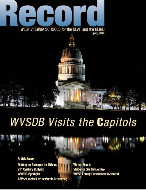 cover of Spring 2016 Record showing a night picture of the Capitol Building in Charleston