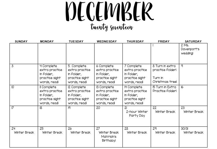 december assignment calendar