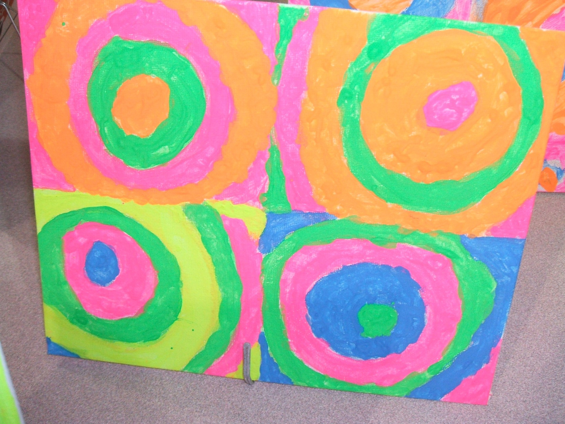 3rd grade paintings based on the work of Wassily Kandinsky