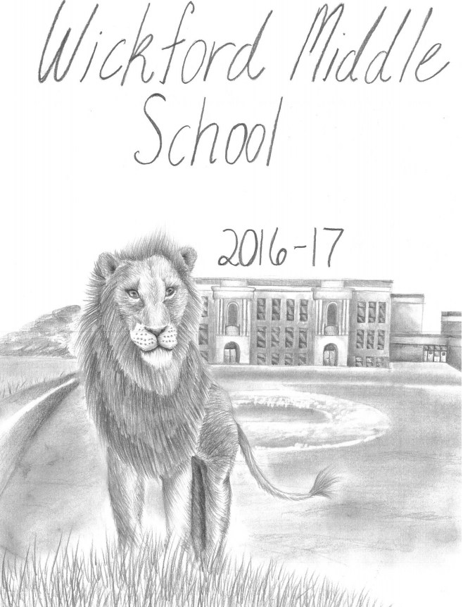 Greyscale drawing of Lion in front of Wickford Middle School