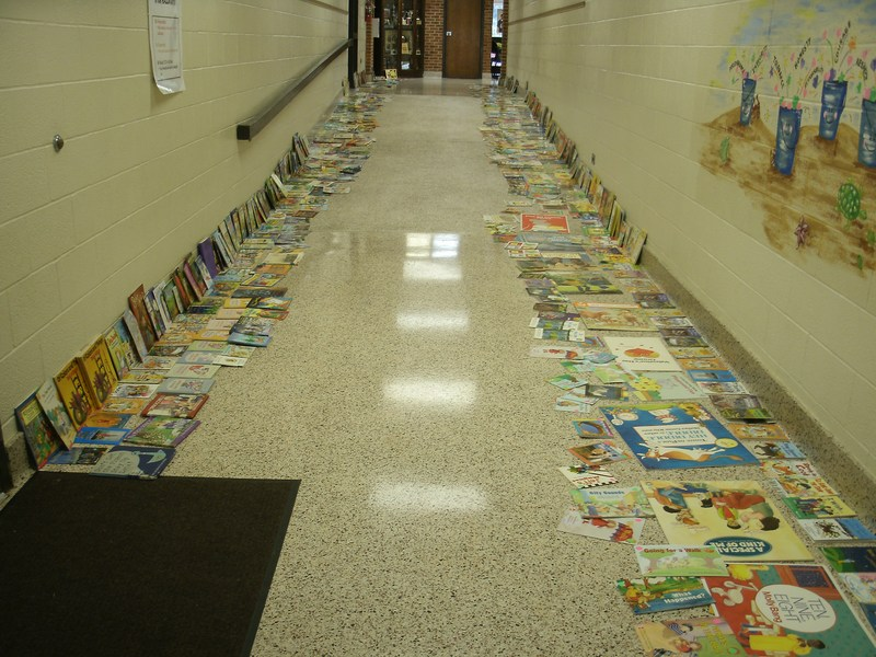 Books are placed against the sides of the hallways.
