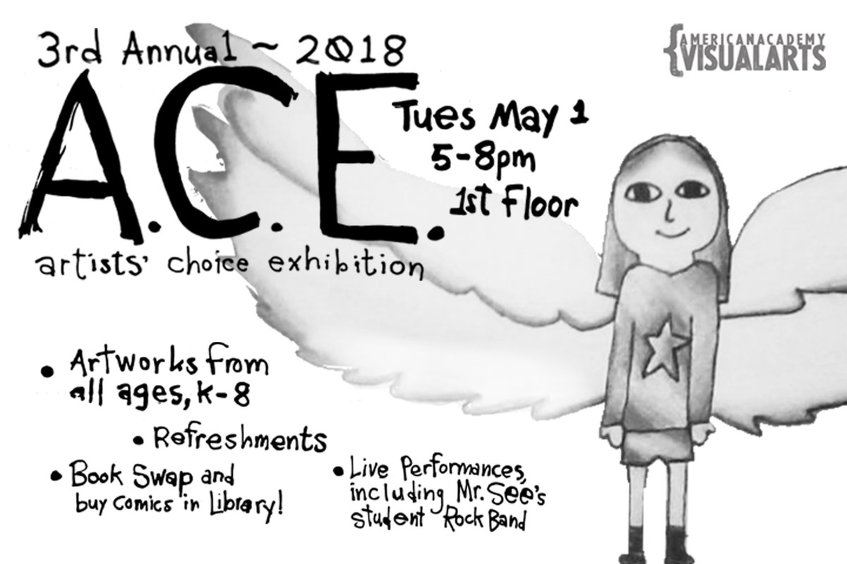 A flier featuring student artwork and containing all vital information about the big year-end art show