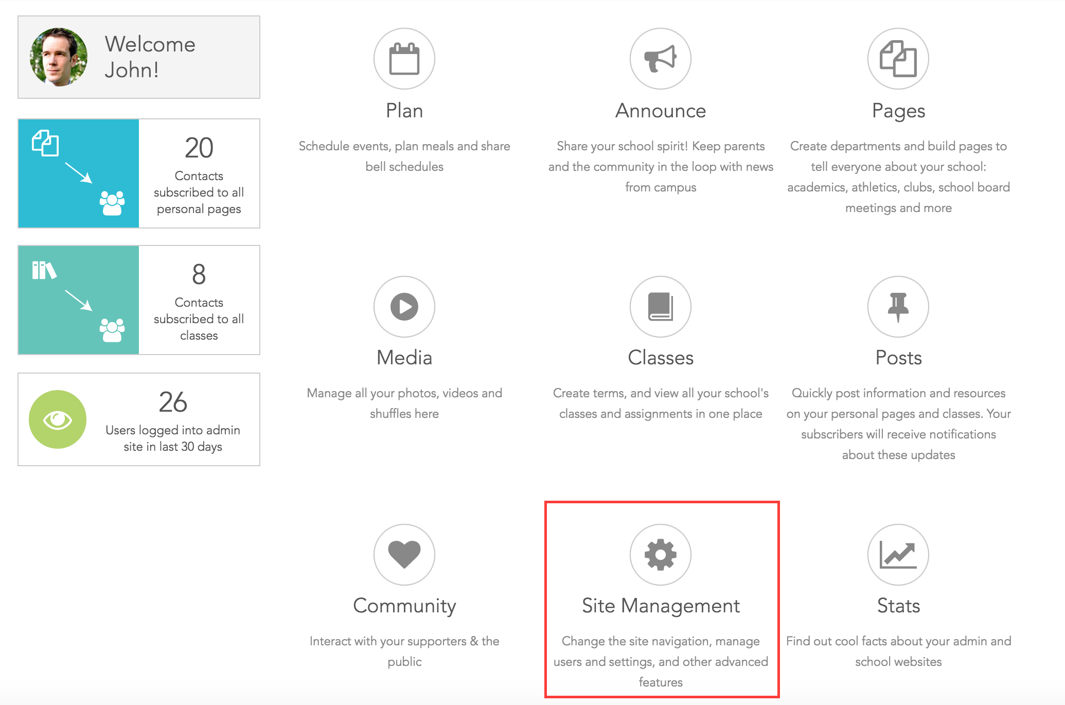 Click Site Management on the Dashboard