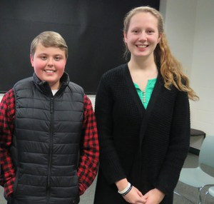Aaron Michalk and Payton Stewart finished in the top three at the regional spelling bee hosted at TK Middle School.