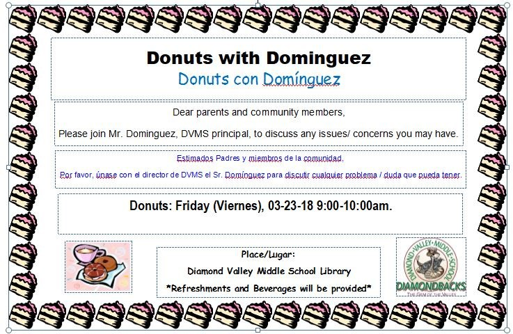 Donuts with Dominguez Invitation Flyer