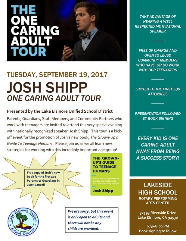 Thumbnail preview of flyer announcing Josh Shipp free event at 6:30 p.m. at Lakeside High on September 19, 2017 for adults with teens
