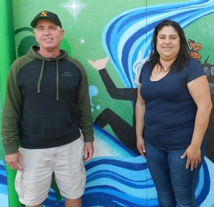 Retiring Teachers in front of mural.