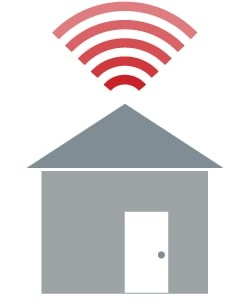 Cartoon image of the wifi logo above a house