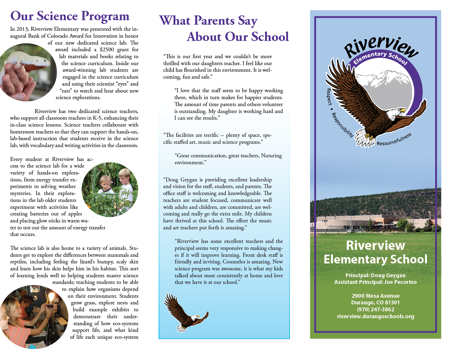 Screenshot of the outside of the Riverview Elementary brochure.