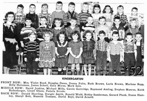 Scanned photo from 1952 Sceptre yearbook of kindergarteners
