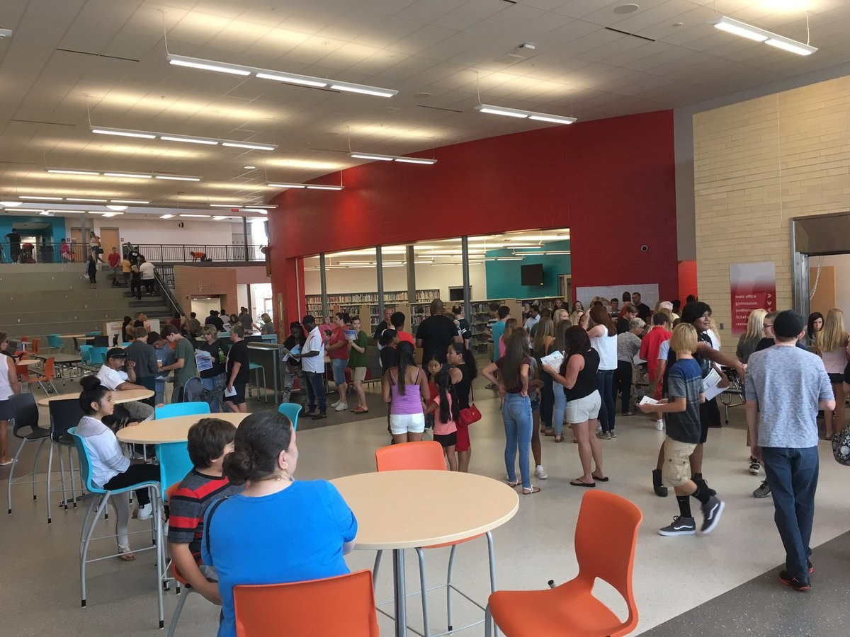 Freshman School students enjoy the commons area in their new school.